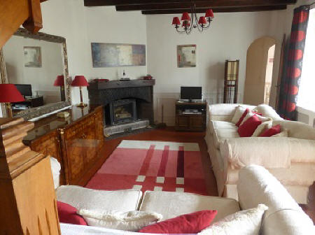 Lounge of a village house to rent in Le Grand-Pressigny in the Loire Valley,France